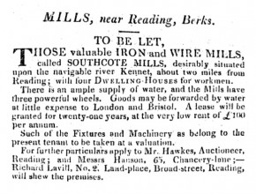 An newspaper advert detailing an iron mill for let in 1822